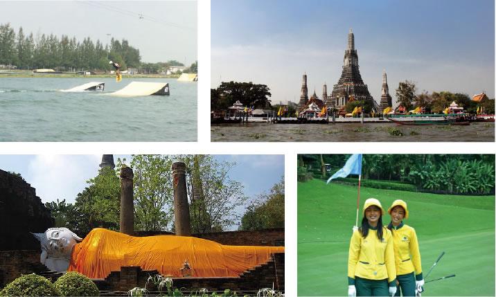 3日目は観光。バンコクの歴史も勉強しながら異国の景色を満喫。ウェイクボードやゴルフも楽しめます。